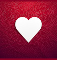 this is a white heart on a red crumpled paper vector image vector image