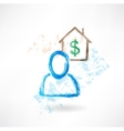 Man and house grunge icon vector image