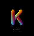 3d iridescent gradient letter k vector image vector image