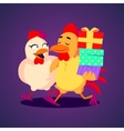 A smiling rooster and hen vector image