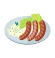 Bavarian Sausages with Pasta and Lettuce on Plate vector image