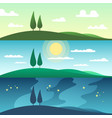 beautiful summer landscape in different times of vector image vector image