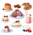 berry mix dessert collection cartoon style vector image