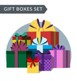 Big pile of colorful gift boxes vector image