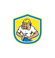 Bulldog Construction Worker Holding Hammer Cartoon vector image vector image