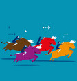 business people ride bull and competition concept vector image vector image
