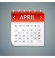 Calendar April Flat Design vector image vector image