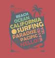 california surfing t shirt design layout vector image