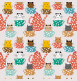 cartoon cats in cups seamless pattern vector image vector image