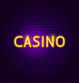 casino neon sign vector image vector image
