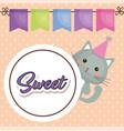 cute cat sweet kawaii character birthday card vector image