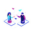dating online - modern colorful isometric vector image vector image