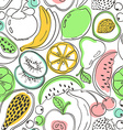 Doodle colorful fruit seamless pattern vector image