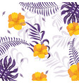 exotic flowers with cute branches leaves vector image vector image