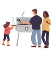 family standing near barbecue grilling meat vector image vector image