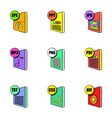 file extensions icons set cartoon style vector image vector image