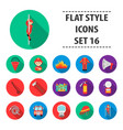 fire department set icons in flat style big vector image vector image