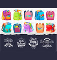 first day or back to school full backpack vector image vector image