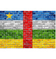 flag of central african republic on a brick wall vector image