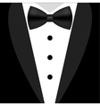 Flat black and white tuxedo bow tie vector image vector image