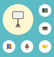 flat icons armchair phone suitcase and other vector image