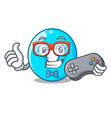 gamer cartoon the number zero color blue vector image