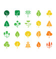 geometric trees color silhouette icons set vector image