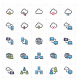icon set - network and connectivity full color vector image vector image