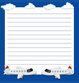 line paper template with two airplanes vector image