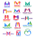 m letter corporate identity business icons vector image vector image