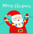merry christmas santa claus holding lightbulb vector image