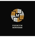 Modern template monogram emblem logo Circle of vector image vector image