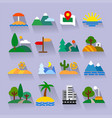 nature flat icons set vector image