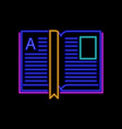 open book neon sign bright glowing symbol on a vector image