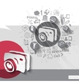 Paper and hand drawn photo camera emblem with vector image vector image