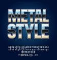 reflective silver metall style alphabet vector image vector image