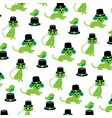 saint patricks day cats dogs birds pattern vector image vector image