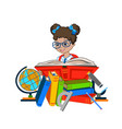 school girl reading a book vector image