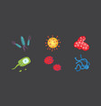 set colorful viruses bacteria vector image vector image