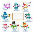 set cute snowmen in various poses vector image