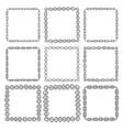 Set of 9 decorative square iron border frames vector image vector image