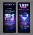 set of disco background banners cocktail night vector image vector image