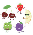 set of funny characters from fruit vector image vector image