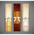 set of golden banners with white bows and ribbons vector image vector image