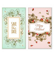 set of invitation cards with dry flowers vector image