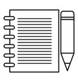 sheet of notebook with pencil icon vector image vector image