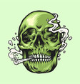 smoking weed green skull hand drawn vector image vector image