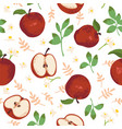 summer pattern with apples flowers and leaves vector image vector image