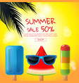 summer sale cartoon ice cream face layout vector image vector image