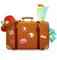 Vintage travel suitcase vector image vector image